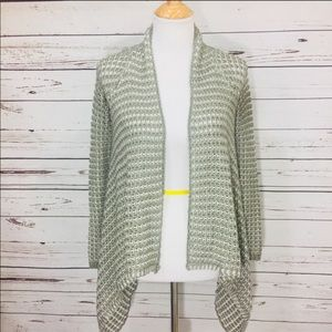 {BCBGMAXAZRIA} Green Open Waterfall Cardigan